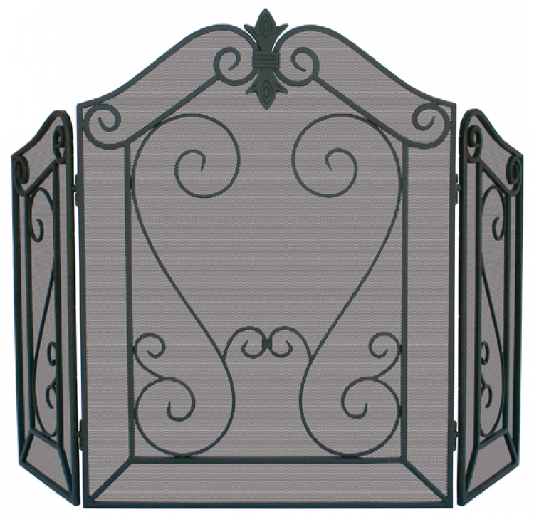 3 Panel Arched Black Screen W/Decorative Scroll - Uniflame
