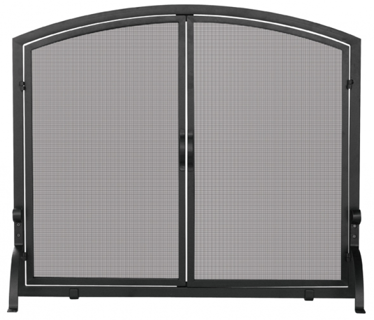 Medium Black Panel Screen with Doors - Uniflame