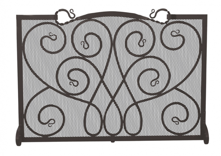 Black Ornate Single Panel Screen - Uniflame