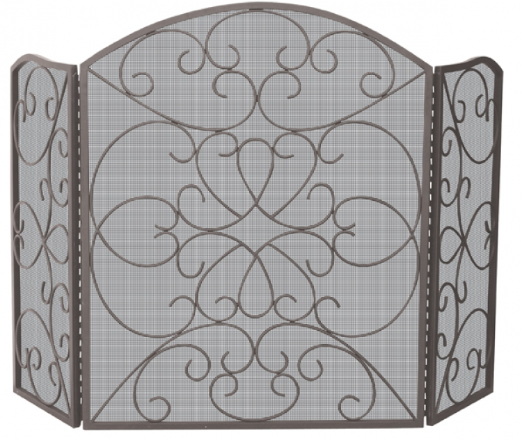 Ornate 3 Fold Screen - Bronze - Uniflame