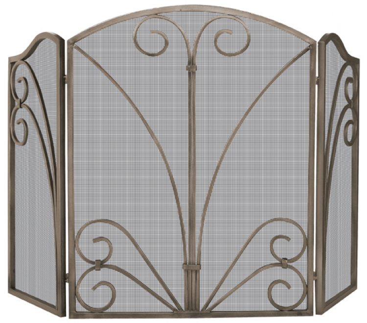 Venetian Bronze 3 Fold Screen with Decorative Scrollwork - Uniflame