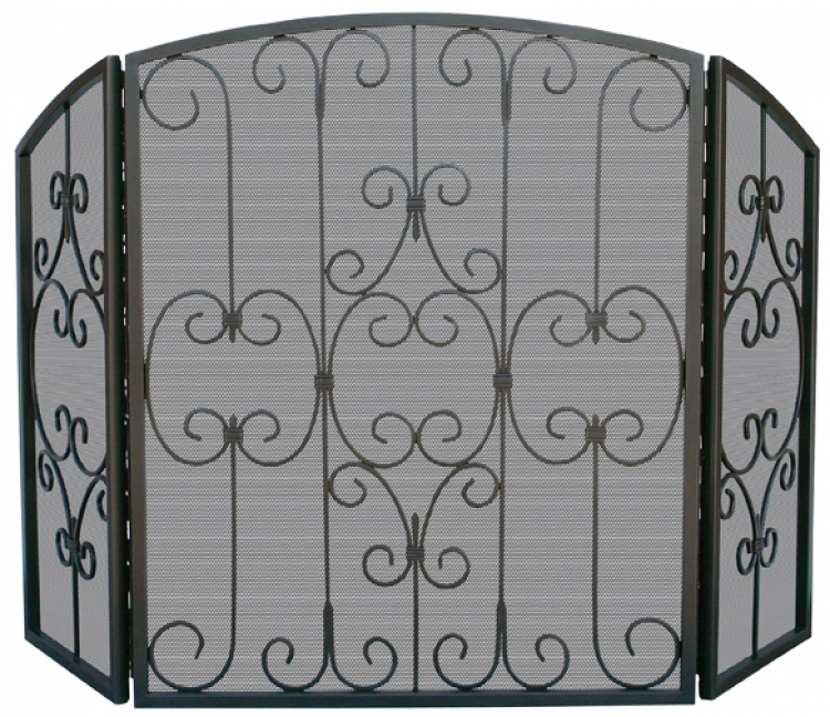 Graphite 3 Fold Screen with Decorative Scrollwork - Uniflame