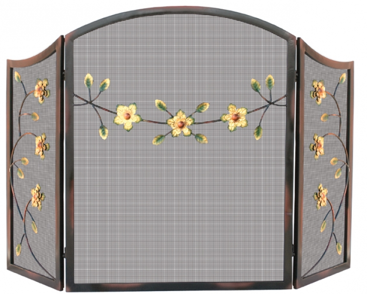 Burnished Bronze 3 Fold Screen with Decorative Flowers - Uniflame