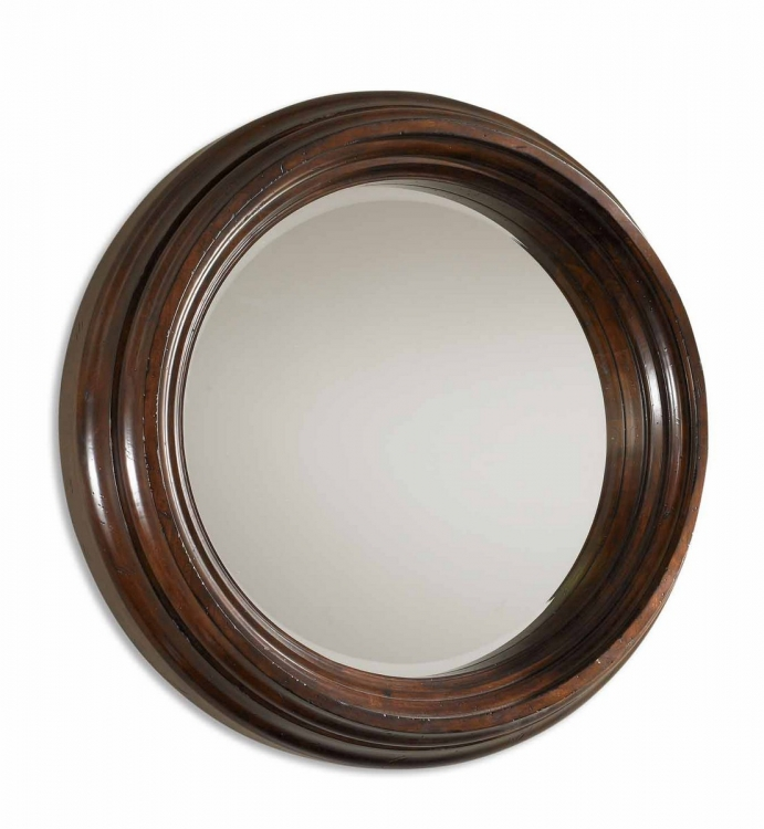 Cristiano Round Dark Wood Mirror