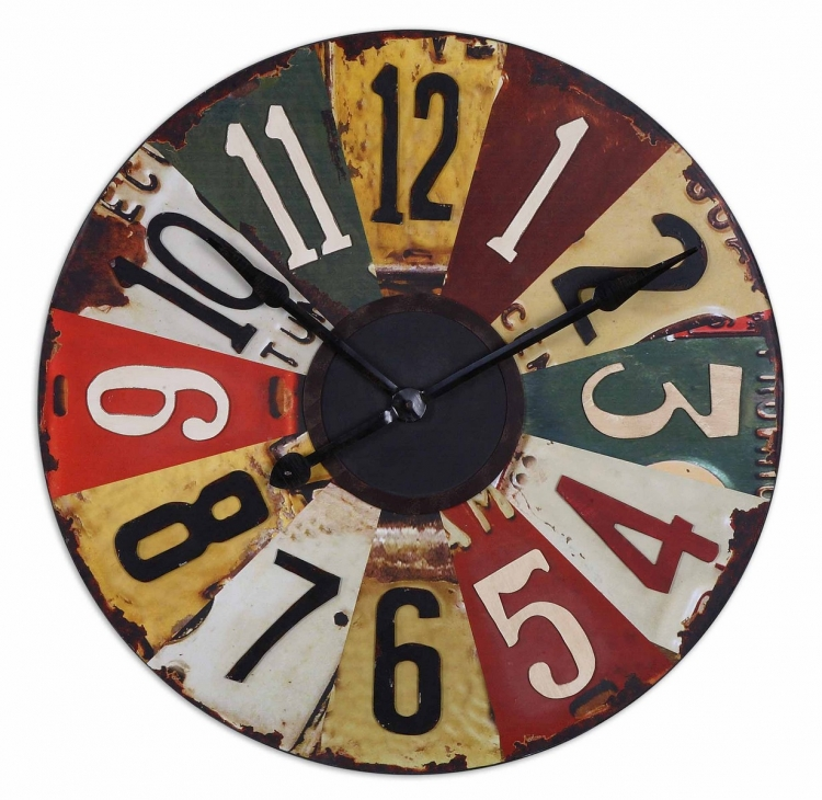Vintage License Plates 29 Wall Clock