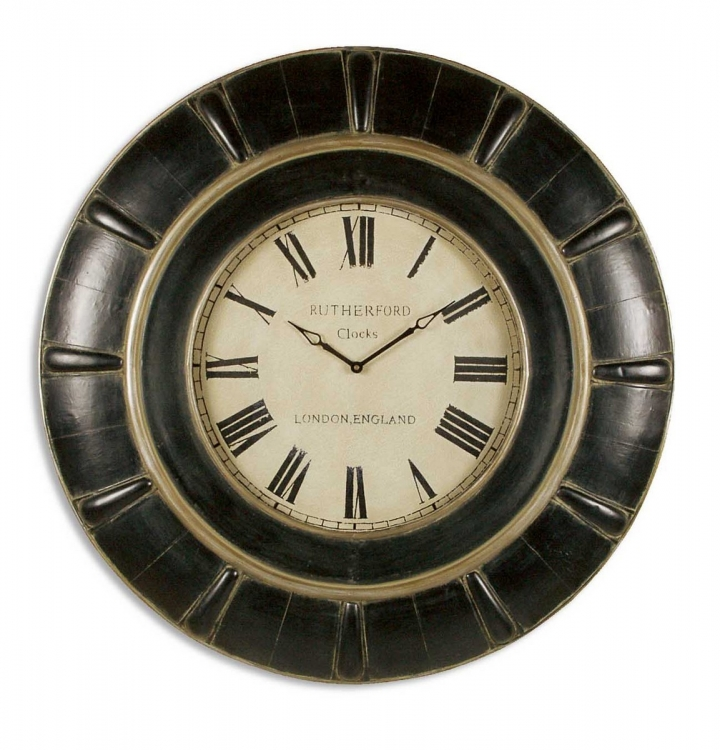 Rustic Black Rudy Clock