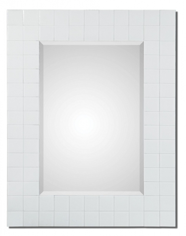 Brooks White Mosaic Mirror