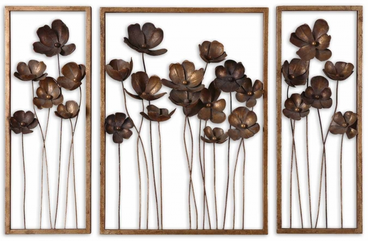 Metal Tulips Wall Art - Set of 3