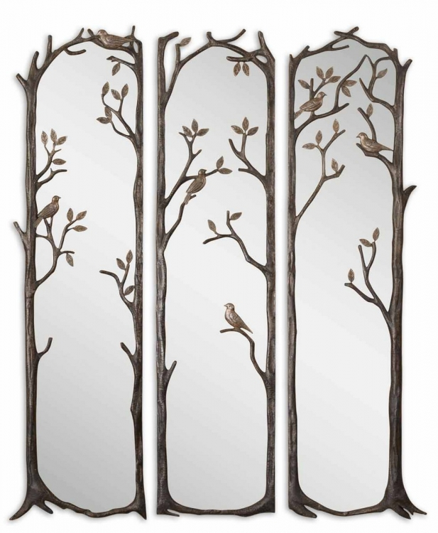 Perching Birds Decorative Mirror - Set of 3