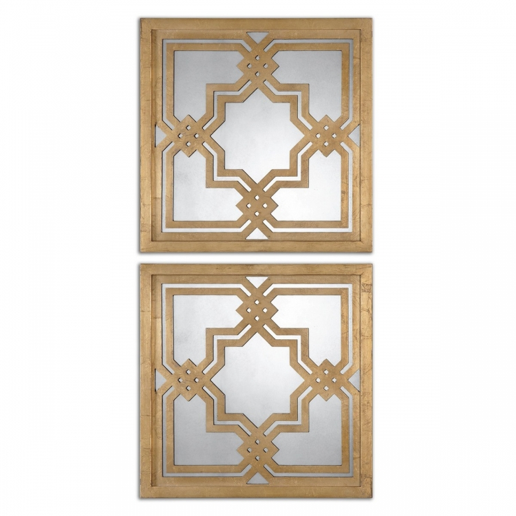 Piazzale Gold Square Mirrors - Set of 2