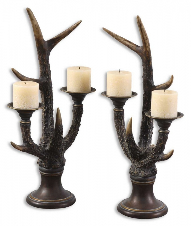 Stag Horn Candleholder - Set of 2