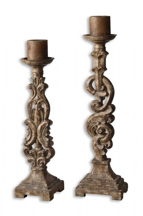 Gia Antique Candleholders - Set of 2