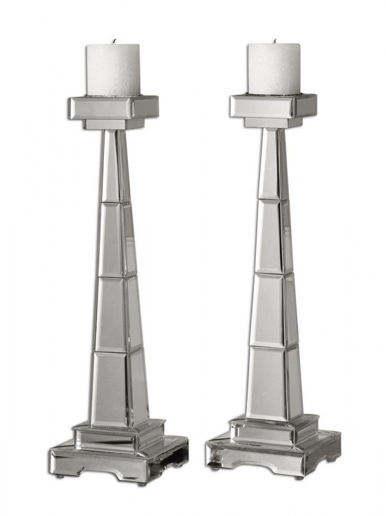 Alanna Mirrored Candleholders - Set of 2