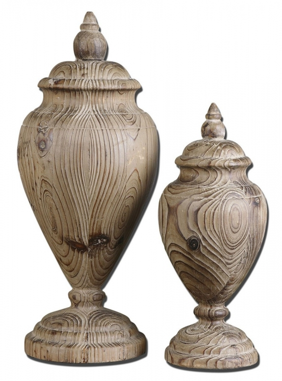 Brisco Carved Wood Finials - Set of 2