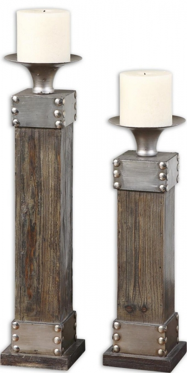 Lican Natural Wood Candleholders - Set of 2