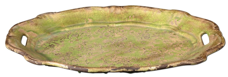 Gian Crackled Green Ceramic Tray
