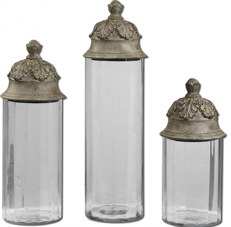 Acorn Glass Cylinder Canisters - Set of 3