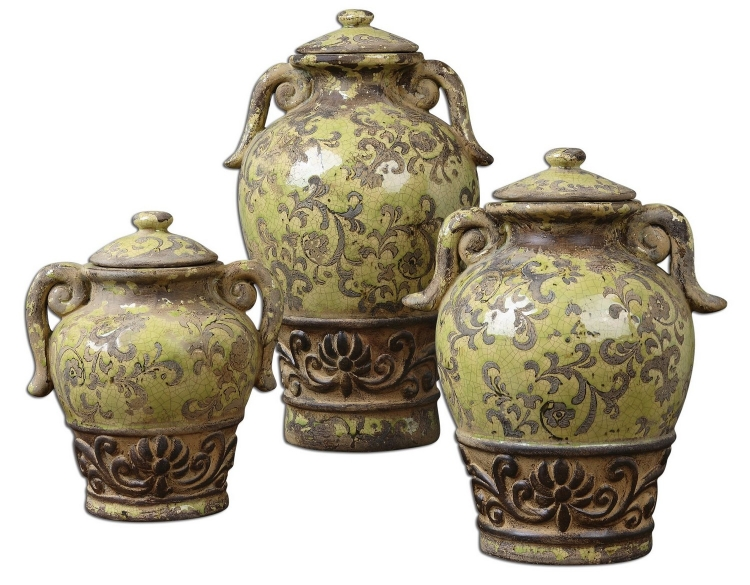 Gian Crackled Green Containers - Set of 3