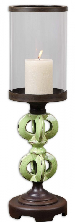 Civita Crackled Green Candelholder