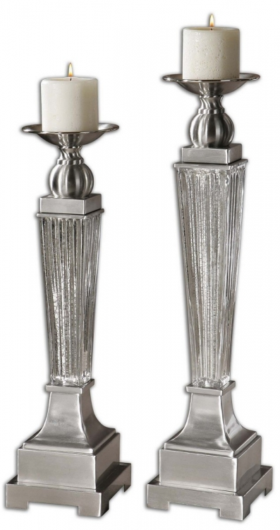 Canino Mercury Glass Candleholders - Set of 2
