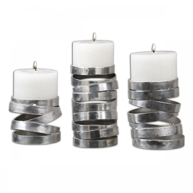 Tamaki Silver Candleholders - Set of 3
