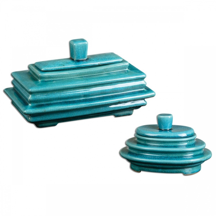 Indra Bright Blue Boxes - Set of 2