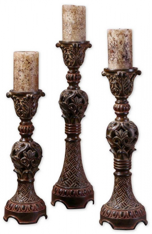 Rosina Walnut Brown Candlesticks - Set of 3