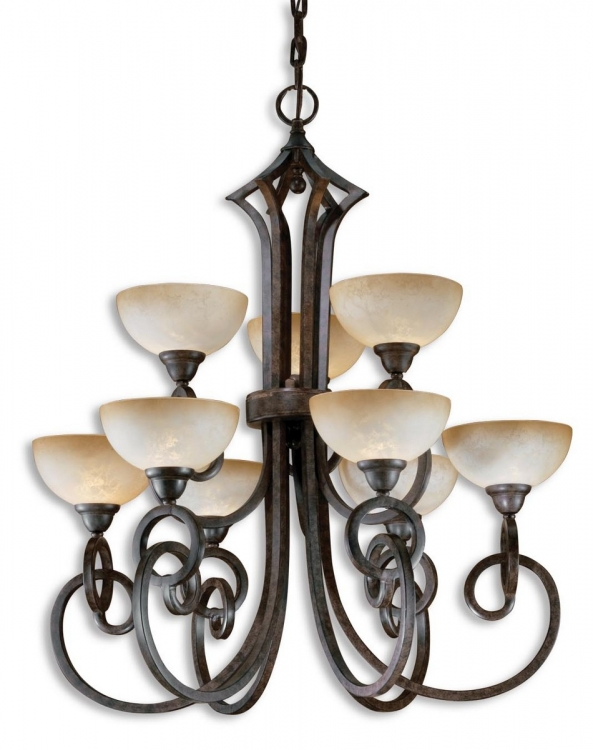 Legato 9 Light Scavo Glass Chandelier