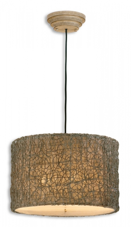 Knotted Rattan Light Drum Pendant