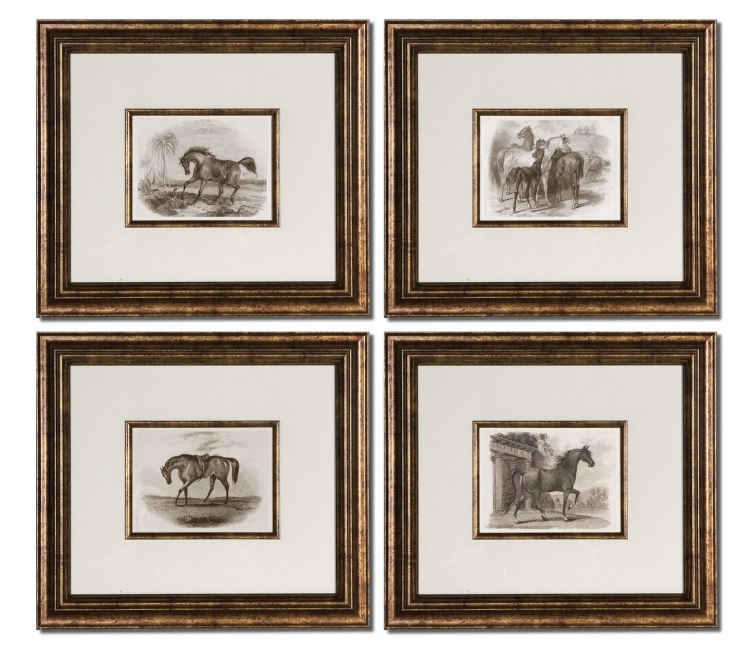 Horses Framed Art - Set of 4