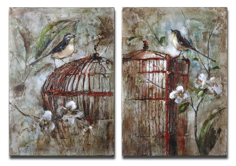 Birds In A Cage Canvas Art - Set of 2
