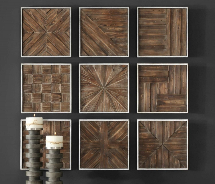 Bryndle Rustic Wooden Squares - Set of 9