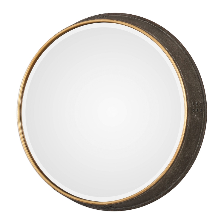 Sturdivant Round Mirror - Antiqued Gold
