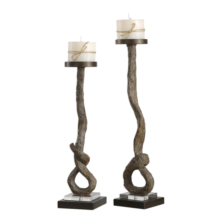 Driftwood Candleholders - Set of 2