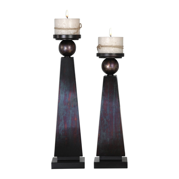 Geremia Oxidized Bronze Candleholders - Set of 2