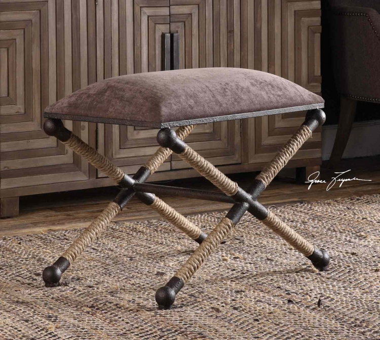 Evert Accent Stool - Taupe/Brown