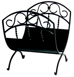 Black Wrought Iron Log Rack W/ Scrolls-Uniflame