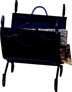 Hammered Crock Black Log Holder With Canvas Carrier-Uniflame