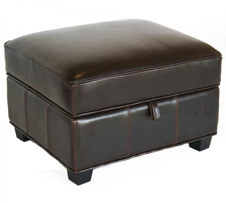 A-136-Black Leather Ottoman - Wholesale Interiors
