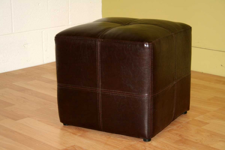 ST-19-Dark Brown Bonded Leather Square Ottoman