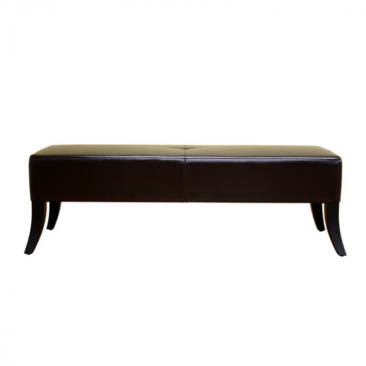 Y-038 Brown Bonded Leather Bench - Wholesale Interiors