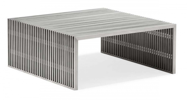 Novel Square Coffee Table - Stainless Steel - Zuo Modern