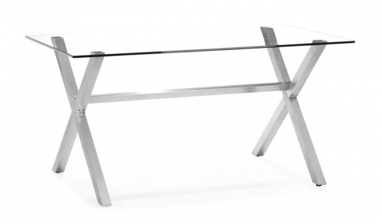 Graphite Dining Table - Clear Glass - Zuo Modern