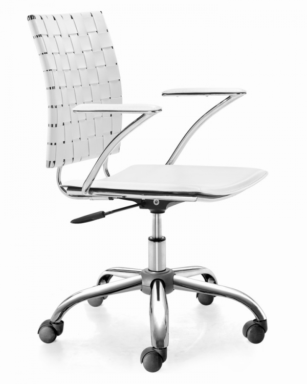 Criss Cross Office Chair - White - Zuo Modern