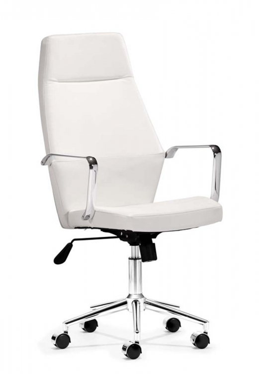 Holt High Back Office Chair - White PU - Zuo Modern