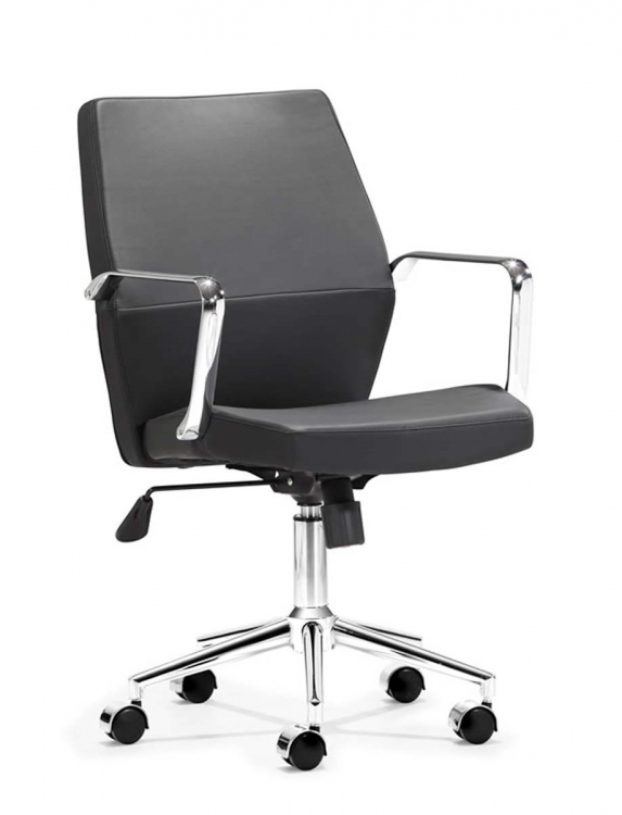 Holt Low Back Office Chair - Black PU - Zuo Modern