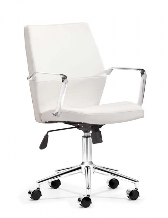 Holt Low Back Office Chair - White PU - Zuo Modern