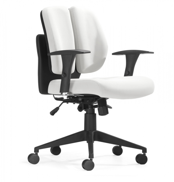 Aqua Office Chair - White PU - Zuo Modern
