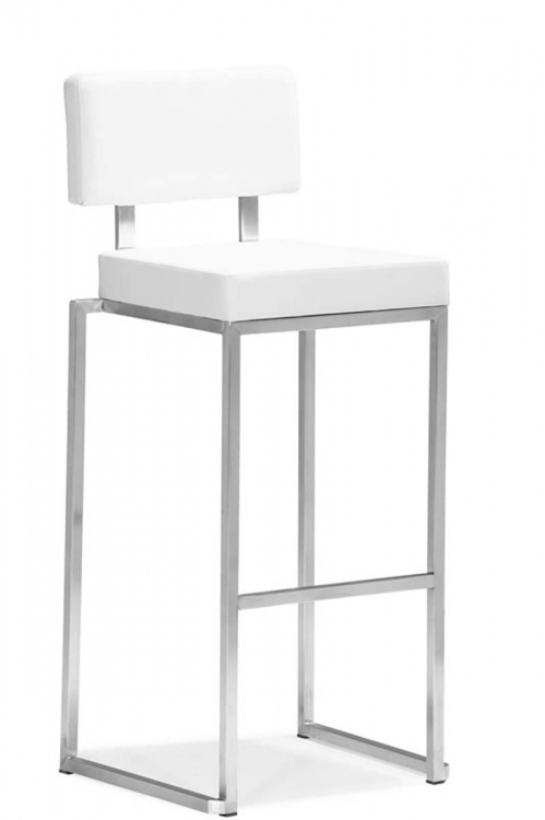 Decade Bar Chair - White - Zuo Modern