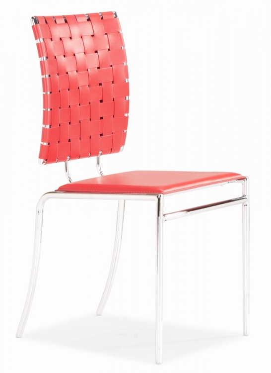 Criss Cross Dining Chair - Red - Zuo Modern
